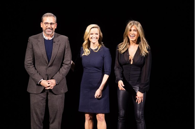 Actors Steve Carell, Reese Witherspoon and Jennifer Aniston speak about their new TV series The Morning Show during the launch of Apple TV+ (Getty)