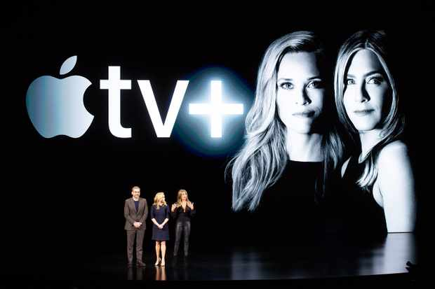 Actors Steve Carell, Reese Witherspoon and Jennifer Aniston speak during the launch of Apple TV+ (Getty)