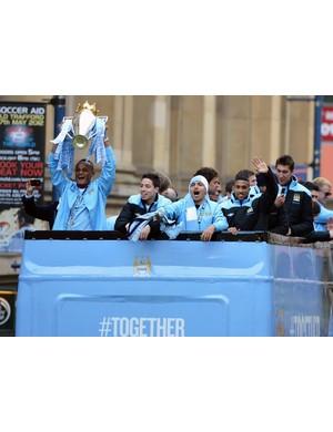 2011/2012 Premier League winners - Manchester City  (Photo by Christopher Furlong/Getty Images)