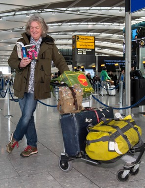 James May pictured leaving Heathrow as new series Our Man in Japan begins filming (Amazon Prime Video)