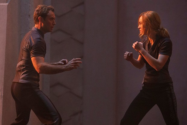 Jude Law and Brie Larson in Captain Marvel (Disney)