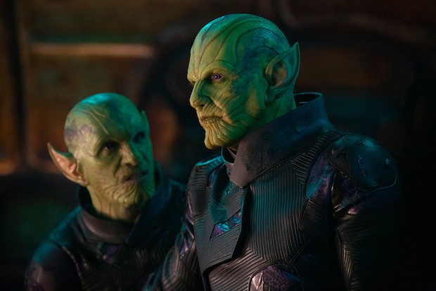 Skrull leader Talos (Ben Mendelsohn) and an underling in Captain Marvel (Disney)