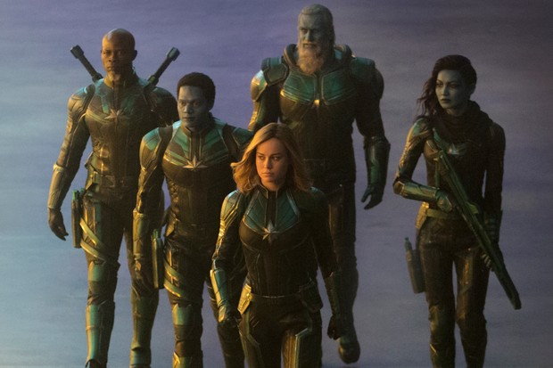 Korath (Djimon Hounsou), Att-Lass (Algenis Perez Soto), Carol Danvers/Captain Marvel (Brie Larson), Bron-Char (Rune Temte) and Minn-Erva (Gemma Chan) in Captain Marvel (Disney)