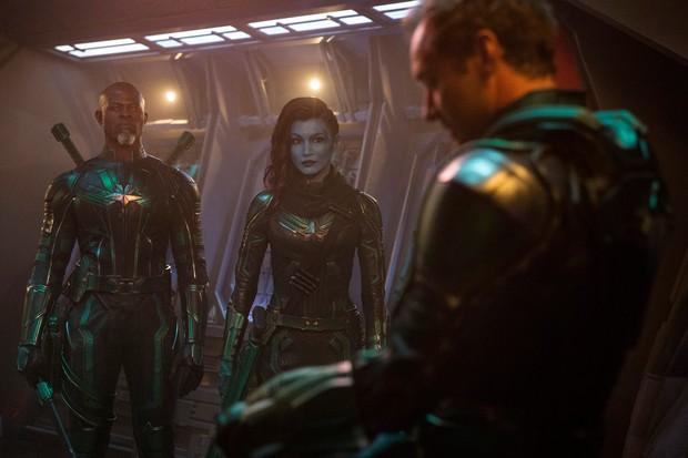 Korath (Djimon Hounsou) and Minn-Erva (Gemma Chan) with Leader of Starforce (Jude Law) in their combat uniforms (Disney)