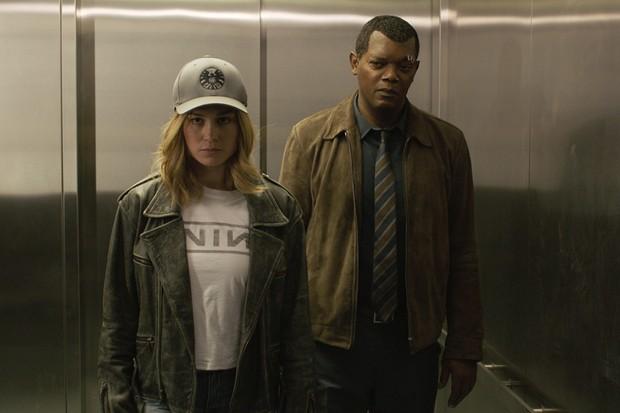 Brie Larson and Samuel L Jackson in Captain Marvel (Disney)