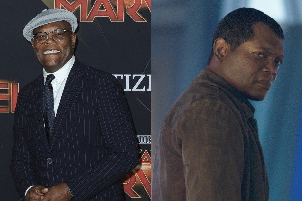 Samuel L Jackson at the Captain Marvel premiere, and de-aged digitally in the movie (Disney, Getty)