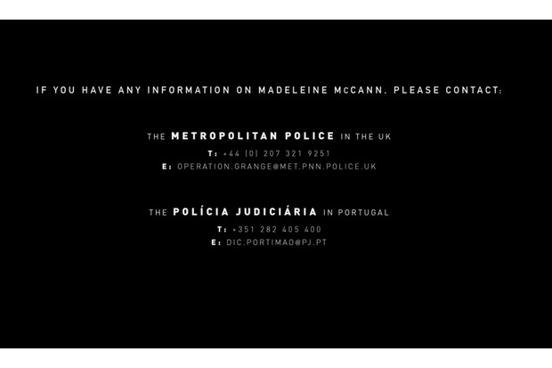 Netflix's Madeleine McCann documentary opens with a request to contact police if viewers have any information relating to the case (Netflix)