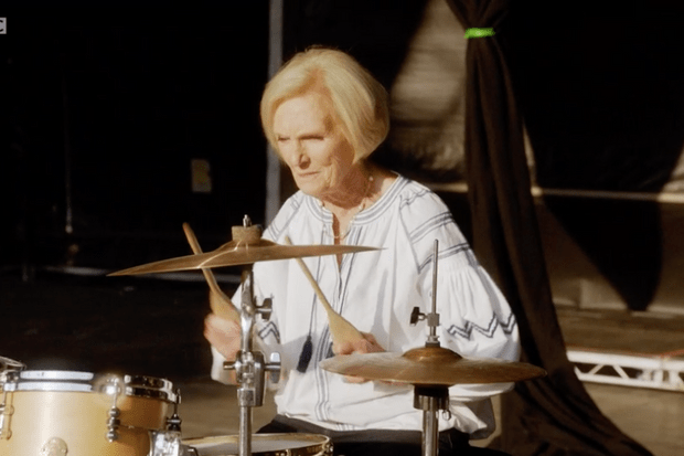 Mary Berry on the drums, Mary Berry's Quick Cooking (BBC screenshot)
