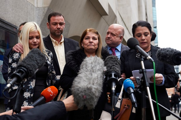 The Taylor family give a statement outside the Central Criminal Court after the Stephen Port trial
