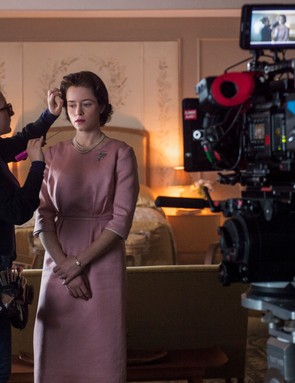 The Crown - Claire Foy - Claire Foy getting final touches before the scene