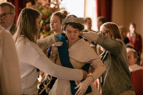 The Crown - Queen Mother - Final preparations for the Queen Mother, played by Victoria Hamilton
