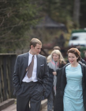 The Crown - Matt Smith, Claire Foy, Lyla Barret-Rye - Cast arrive for their scene at Balmoral