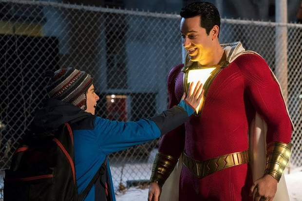 Jack Dylan Grazer and Zachary Levi in Shazam! (WB)