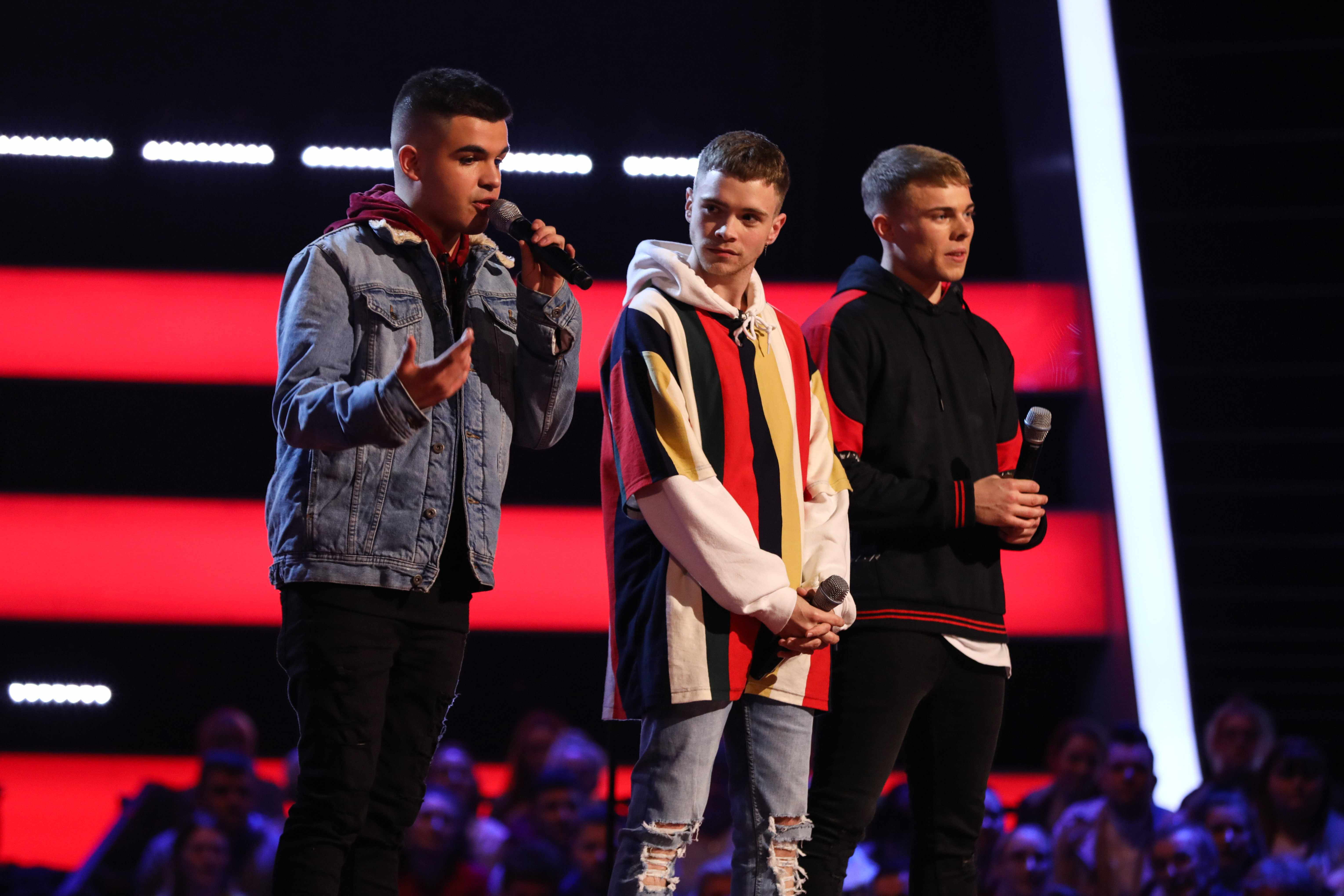 This image is strictly embargoed until 21.30 Saturday 19th January 2019From ITV StudiosThe Voice UK: SR3: Ep3 on ITVPictured: NXTGEN [Cian, Sonny and Joel] perform. Will and Olly turn and they choose Team Will.This photograph is (C) ITV Plc and can only be reproduced for editorial purposes directly in connection with the programme or event mentioned above, or ITV plc. Once made available by ITV plc Picture Desk, this photograph can be reproduced once only up until the transmission [TX] date and no reproduction fee will be charged. Any subsequent usage may incur a fee. This photograph must not be manipulated [excluding basic cropping] in a manner which alters the visual appearance of the person photographed deemed detrimental or inappropriate by ITV plc Picture Desk.  This photograph must not be syndicated to any other company, publication or website, or permanently archived, without the express written permission of ITV Picture Desk. Full Terms and conditions are available on the website www.itv.com/presscentre/itvpictures/termsFor further information please contact:james.hilder@itv.com / 0207 157 3052