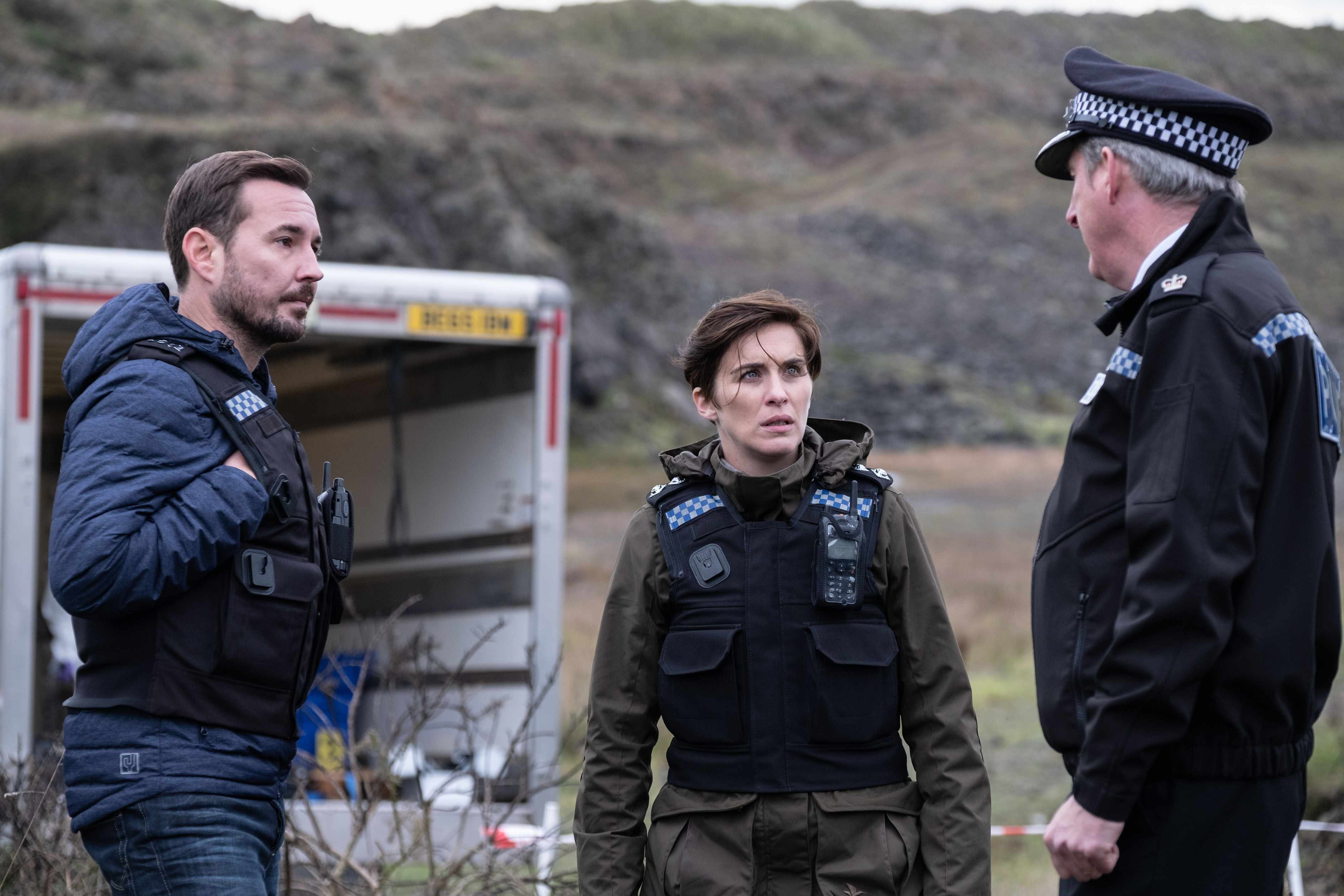 WARNING: Embargoed for publication until 00:00:01 on 09/04/2019 - Programme Name: Line of Duty - Series 5 - TX: 14/04/2019 - Episode: Line of Duty S5 - episode 3 (No. 3) - Picture Shows: ***EMBARGOED TILL 00:01 TUESDAY 9TH APRIL 2019*** Steve (MARTIN COMPSTON), Kate (VICKY MCCLURE), Hastings (ADRIAN DUNBAR) - (C) World Productions - Photographer: Peter Marley