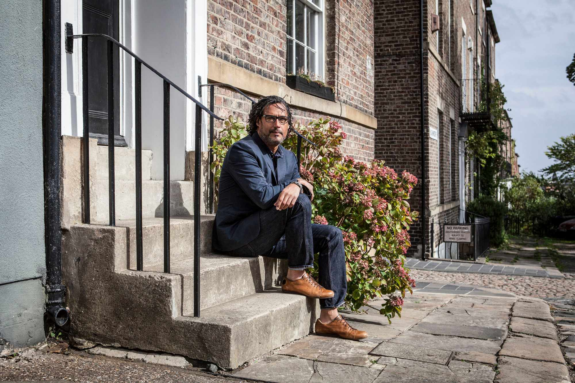 Historian David Olusoga outside Ravensworth Terrace in Newcastle upon Tyne (BBC)