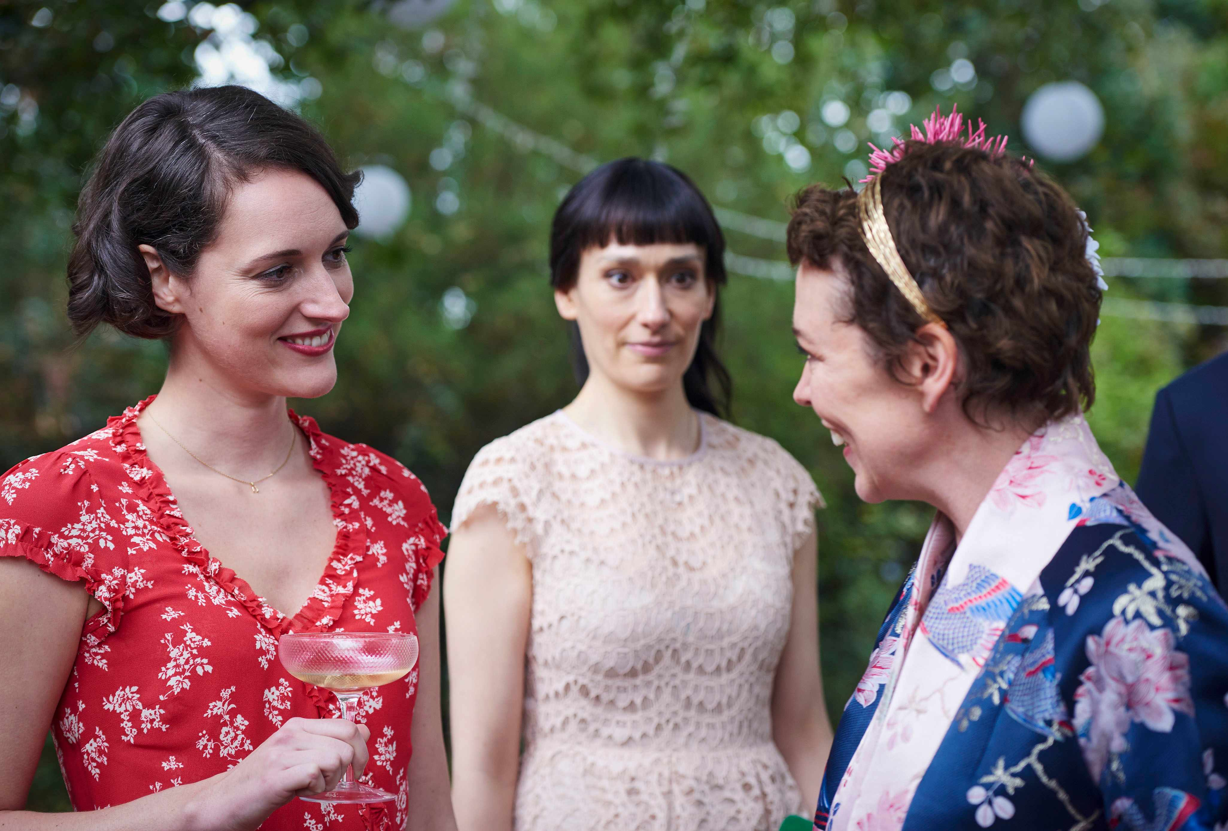 WARNING: Embargoed for publication until 00:00:01 on 02/04/2019 - Programme Name: Fleabag - TX: n/a - Episode: n/a (No. 6) - Picture Shows:  Fleabag (PHOEBE WALLER-BRIDGE), Claire (SIAN CLIFFORD), Godmother/Stepmother (OLIVIA COLMAN) - (C) Two Brothers - Photographer: Kevin Baker