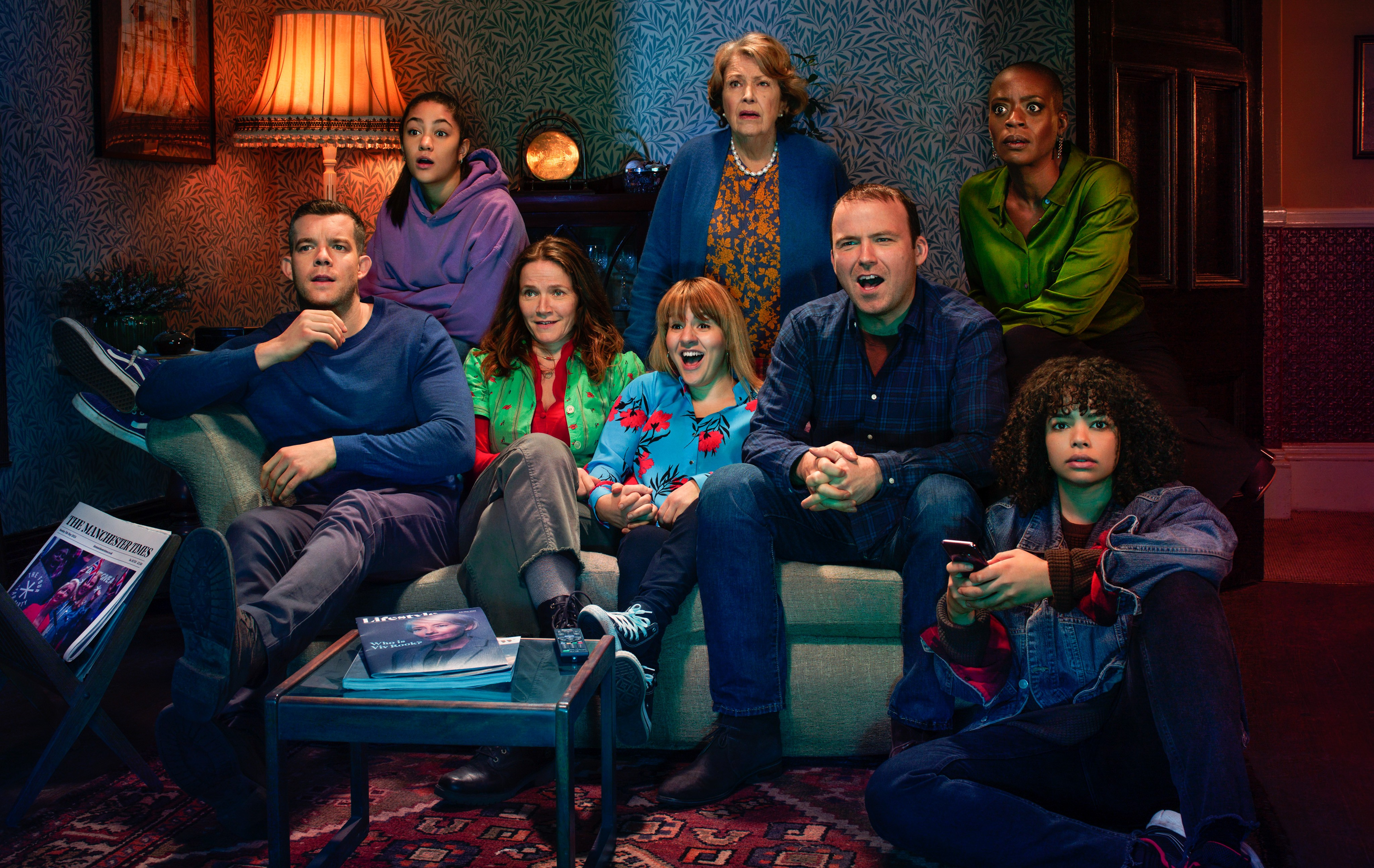 The cast of Years and Years (L-R): Daniel (Russell Tovey), Ruby (Jade Alleyne), Edith (Jessica Hynes), Rosie (Ruth Madeley), Muriel (Anne Reid), Stephen (Rory Kinnear), Celeste (T'nia Miller), Bethany (Lydia West)