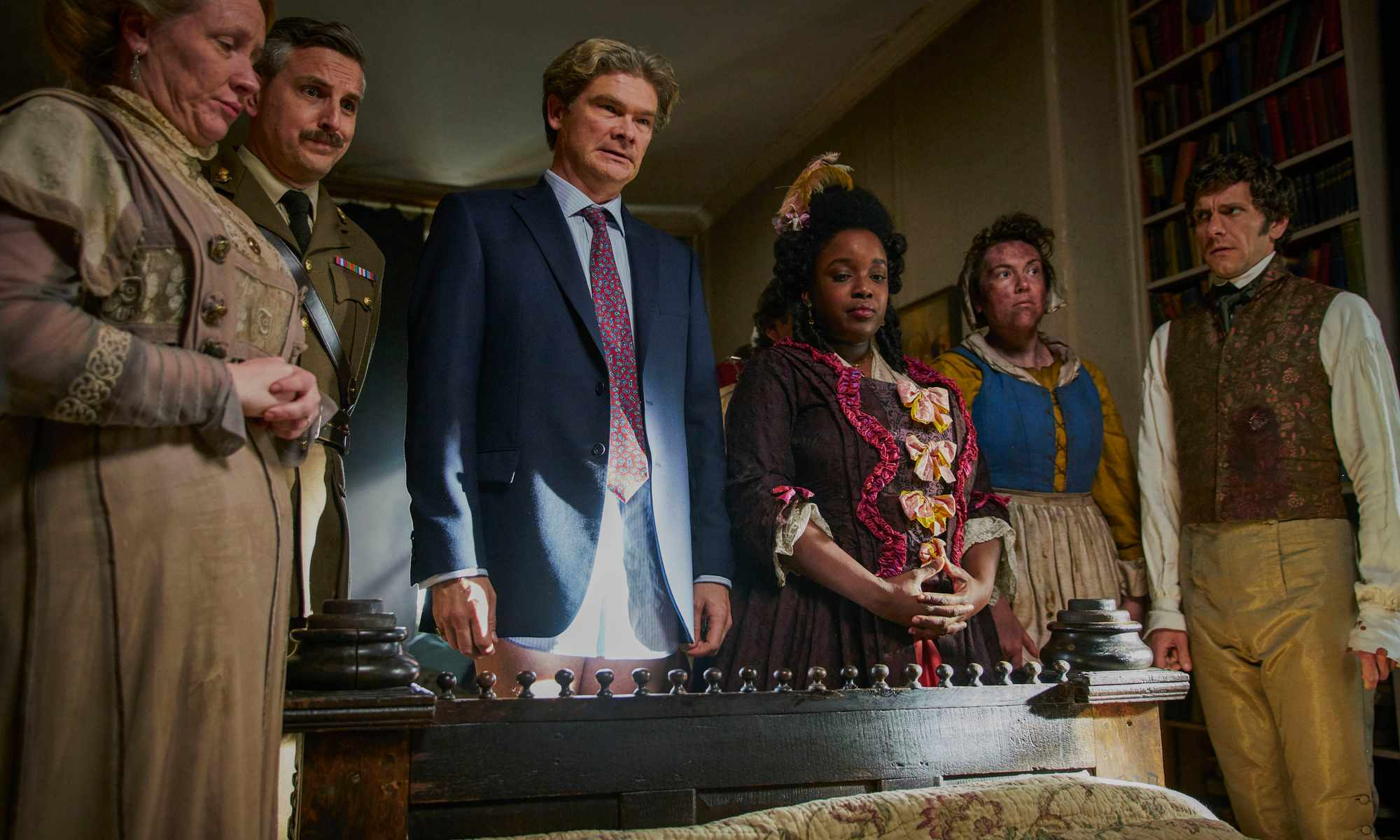 Programme Name: Ghosts - TX: 15/04/2019 - Episode: n/a (No. 1) - Picture Shows:  Lady Button (MARTHA HOWE-DOUGLAS), The Captain (BEN WILLBOND), Julian (SIMON FARNABY), Kitty (LOLLY ADEFOPE), Mary (KATY WIX), Thomas Thorne (MAT BAYNTON) - (C) Button Hall Productions - Photographer: Mark Johnson