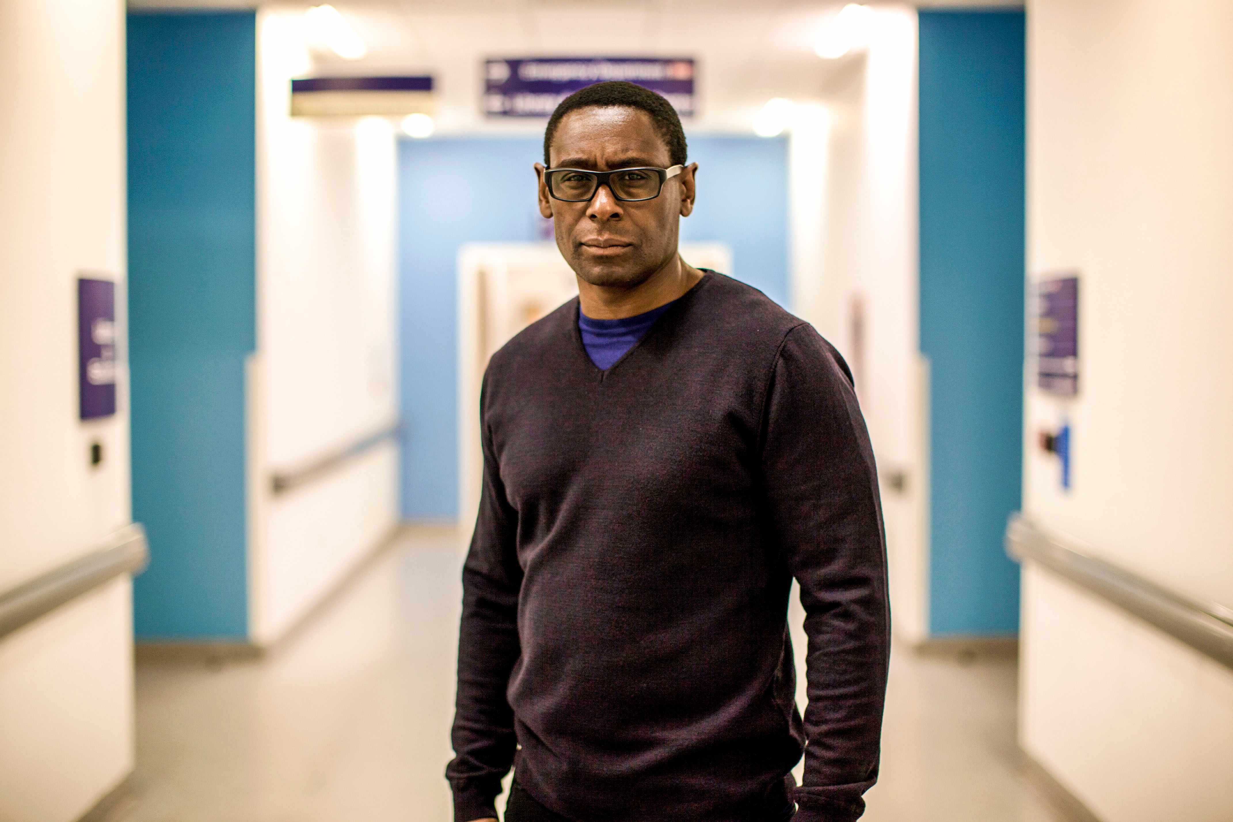 Programme Name: David Harewood: Psychosis and Me - TX: n/a - Episode: n/a (No. n/a) - Picture Shows: David Harewood at the Queen Elizabeth Hospital, Birmingham  David Harewood - (C) Films of Record - Photographer: Sebastian Rabbas