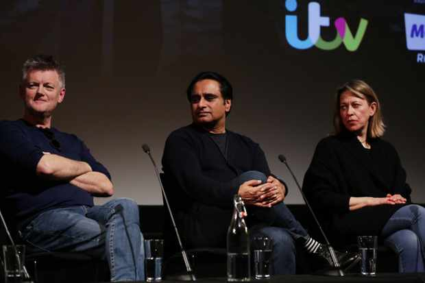 Chris Lang, Sanjeev Bhaskar and Nicola Walker at the Q&A for 'Unforgotten' at the BFI & Radio Times Television Festival