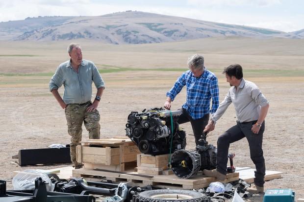 Jeremy Clarkson, James May and Richard Hammond in The Grand Tour season three Mongolia special (Amazon)