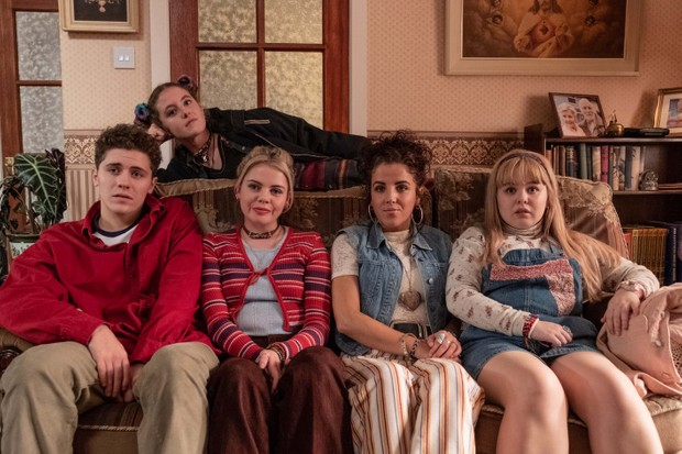l-r: Dylan (James Maguire), Erin (Saoirse Monica-Jackson), Michelle (Jamie-Lee O'Donnell), Clare (Nicola Coughlan).Above: Orla McCool (Louisa Clare Harland)
