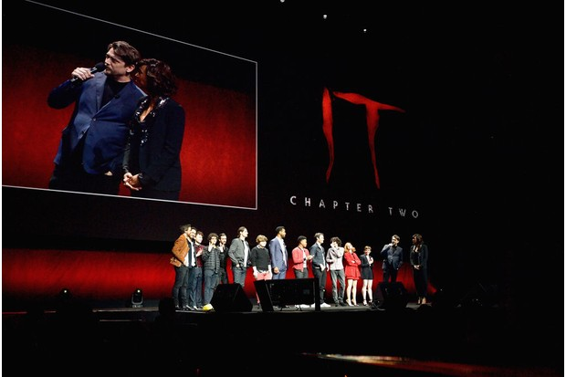 """Cast and crew of """"It: Chapter Two"""" speaks onstage at CinemaCon 2019 Warner Bros (Getty)"""