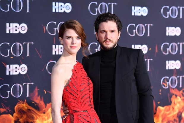 Rose Leslie and Kit Harington, Game of Thrones series 8 premiere