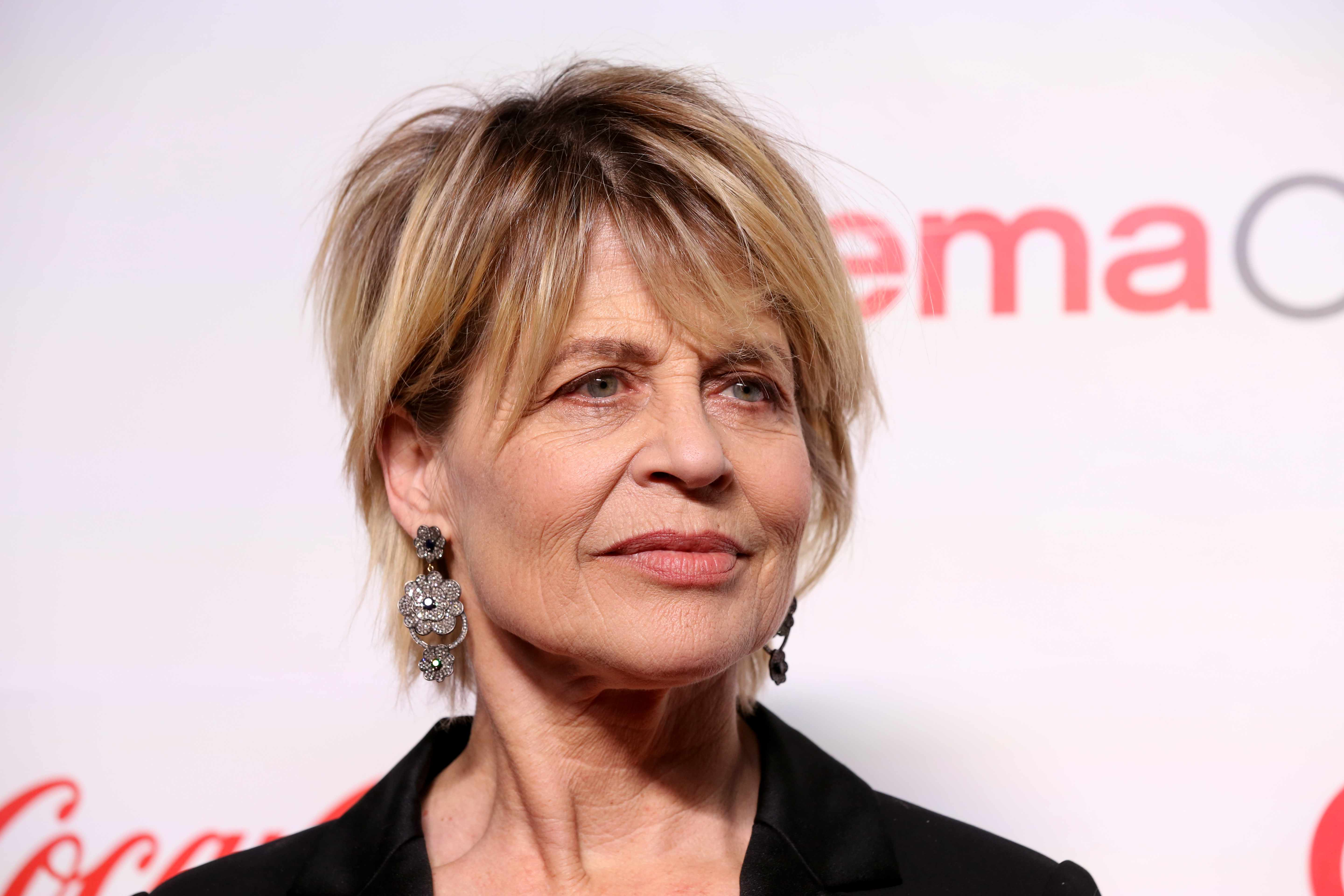 """LAS VEGAS, NEVADA - APRIL 04: Recipient of the """"CinemaCon Ensemble Award"""" for the upcoming movie """"Terminator: Dark Fate"""" actress Linda Hamilton attends the CinemaCon Big Screen Achievement Awards at Omnia Nightclub at Caesars Palace on April 04, 2019 in Las Vegas, Nevada. CinemaCon is the official convention of the National Association of Theatre Owners. (Photo by Gabe Ginsberg/WireImage)"""