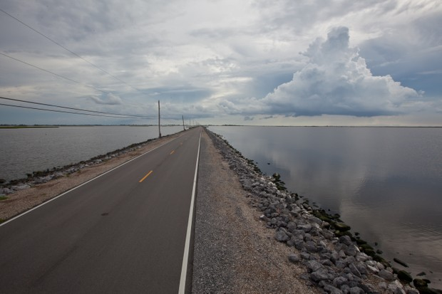 The road leading to Isle de Jean Charles in Louisiana.
