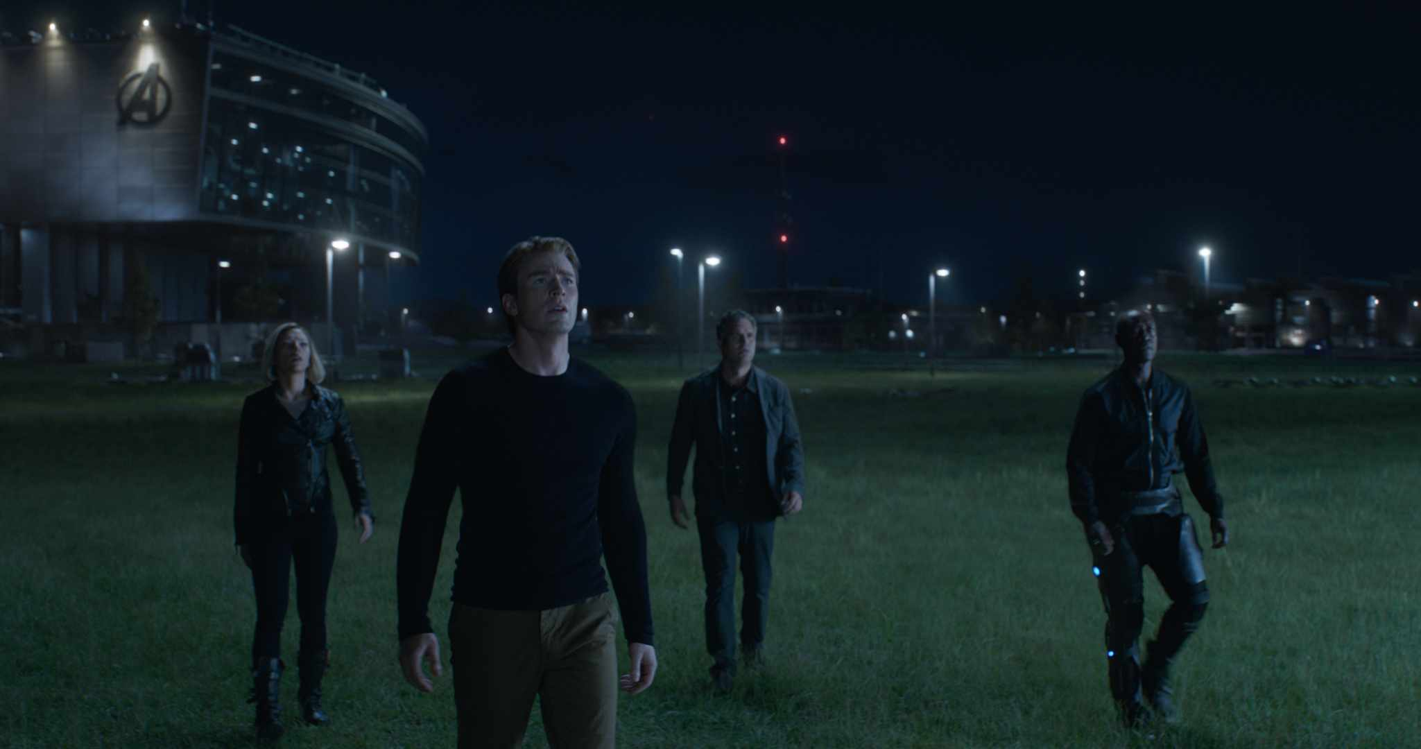 Marvel Studios' AVENGERS: ENDGAME..L to R: Black Widow/Natasha Romanoff (Scarlett Johansson), Captain America/Steve Rogers (Chris Evans), Bruce Banner (Mark Ruffalo), and War Machine/James Rhodes (Don Cheadle)..Photo: Film Frame..©Marvel Studios 2019