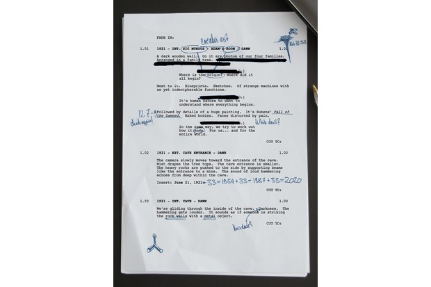 The first page of the script for Dark season two (Netflix)