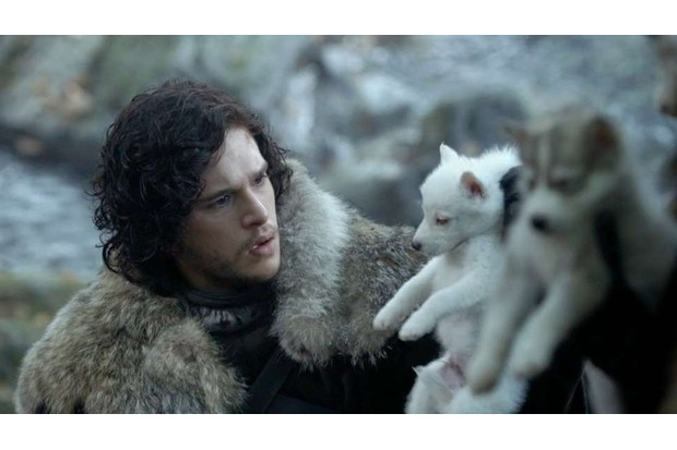 Jon Snow and Ghost in Game of Thrones season one (HBO)
