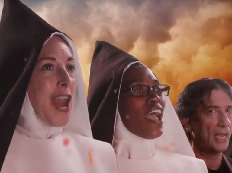 Good Omens' evil nuns drop music video featuring Neil Gaiman