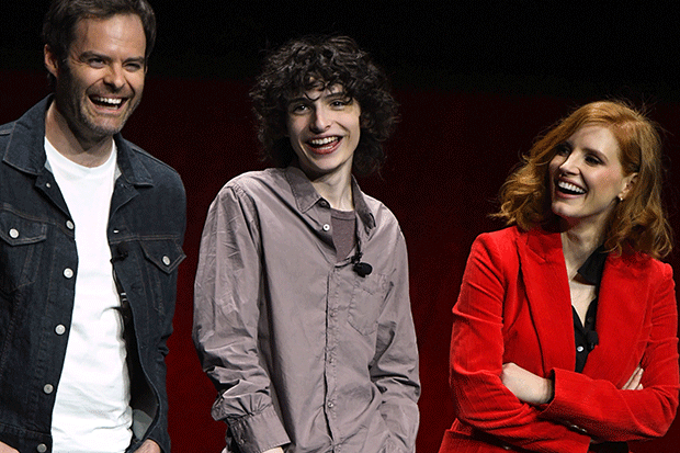 Bill Hader, Finn Wolfhard and Jessica Chastain promote It: Chapter Two, Getty