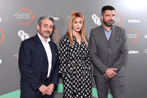 Creator Matthew Hall and Keeping Faith stars Eve Myles and Bradley Freegard at the BFI & Radio Times TV Festival, Getty
