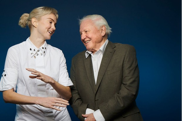 Lily Cole and David Attenborough (Ray Burmiston for Radio Times)