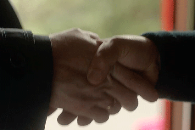 Ted Hastings and Patrick Fairbank handshake, BBC iPlayer