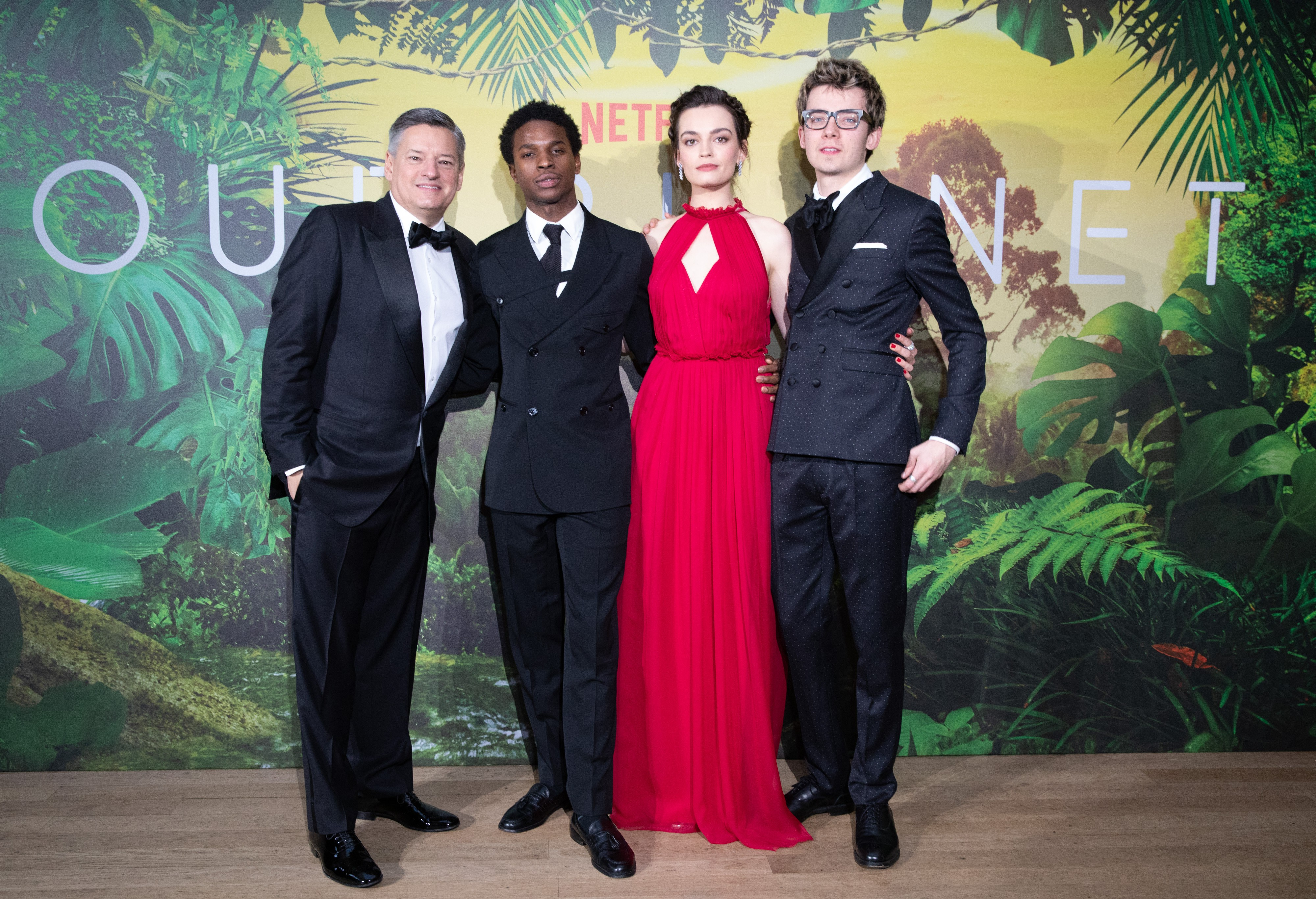 Netflix's Our Planet Royal World Premiere, London, April 2019. (L-R) Ted Sarandos, Kedar Williams-Stirling, Emma Mackey and Asa Butterfield