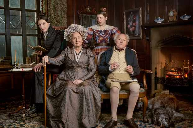 Programme Name: Gentleman Jack - TX: n/a - Episode: Gentleman Jack - Generics (No. n/a) - Picture Shows:  Anne Lister (SURANNE JONES), Aunt Anne Lister (GEMMA JONES), Marian Lister (GEMMA WHELAN), Jeremy Lister (TIMOTHY WEST) - (C) Lookout Point - Photographer: Jay Brooks