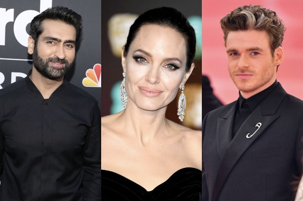 Kumail Nanjiani, Angelina Jolie and Richard Madden (Getty)