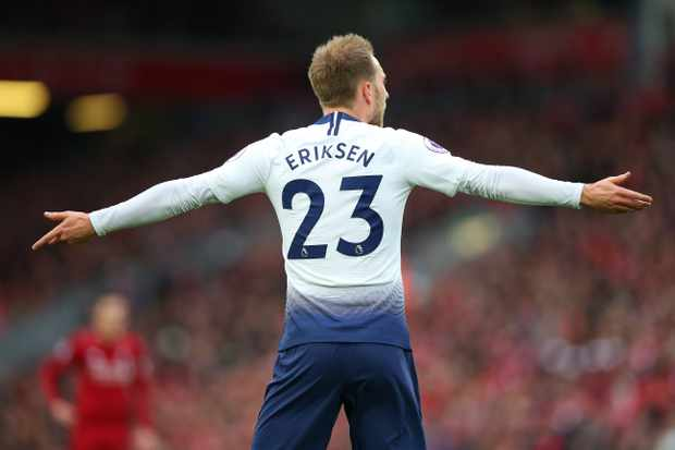 LIVERPOOL, ENGLAND - MARCH 31:  Christian Eriksen of Tottenham Hotspur reacts during the Premier League match between Liverpool FC and Tottenham Hotspur at Anfield on March 31, 2019 in Liverpool, United Kingdom. (Photo by Alex Livesey - Danehouse/Getty Images)