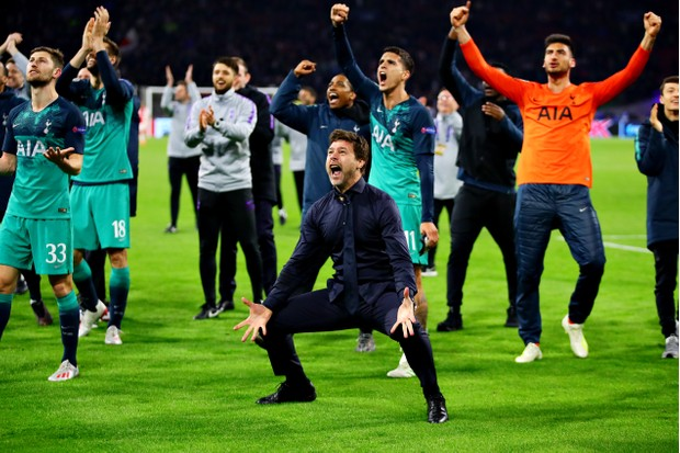 AMSTERDAM, NETHERLANDS - MAY 08: Manager of Tottenham Hotspur, Mauricio Pochettino celebrates his sides win after the UEFA Champions League Semi Final second leg match between Ajax and Tottenham Hotspur at the Johan Cruyff Arena on May 08, 2019 in Amsterdam, Netherlands. (Photo by Chris Brunskill/Fantasista/Getty Images)