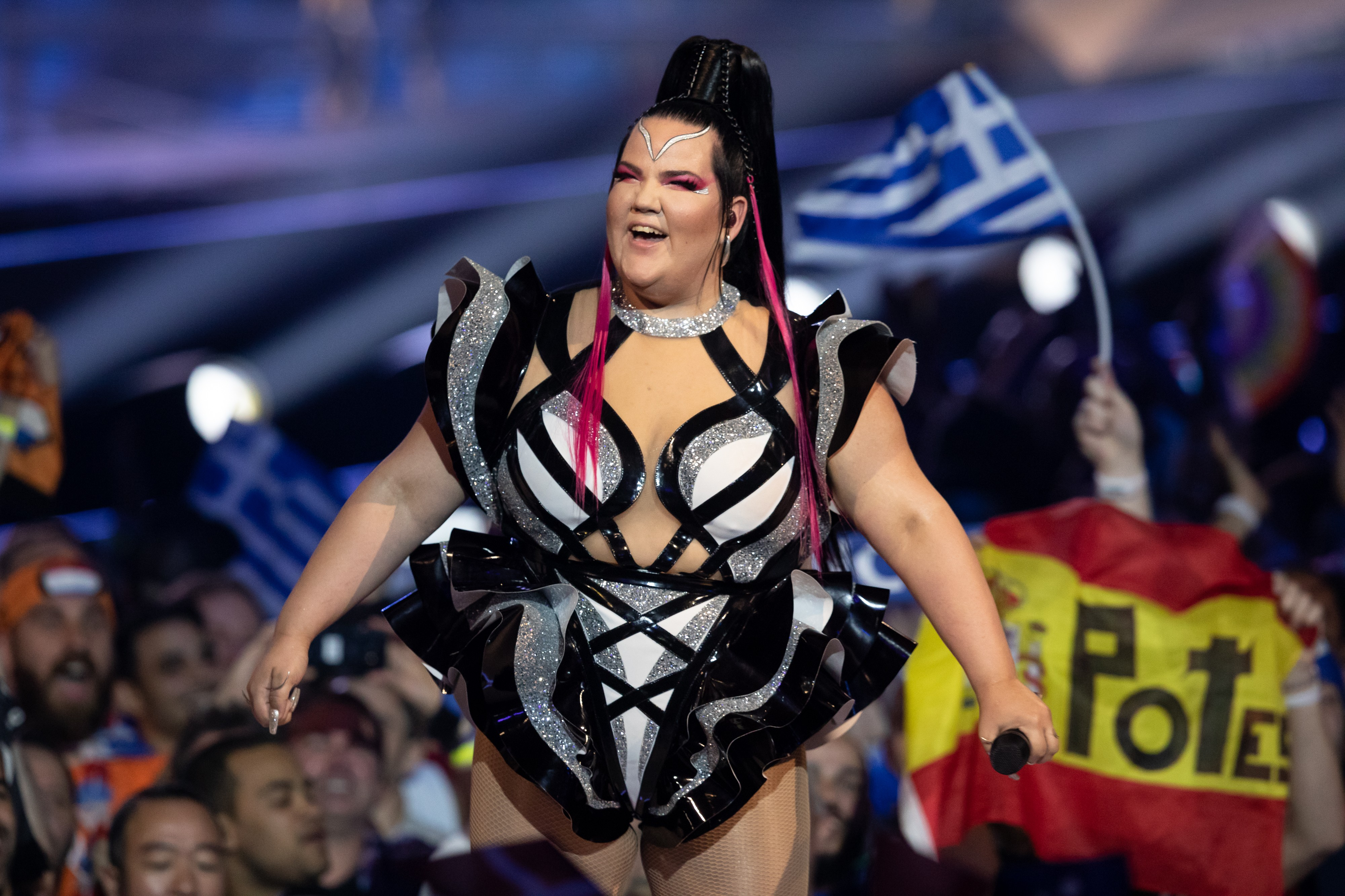 TEL AVIV, ISRAEL - MAY 14: Netta Barzilai, Winner of the 2018 Eurovision award, performs during the 64th annual Eurovision Song Contest held at Tel Aviv Fairgrounds on May 14, 2019 in Tel Aviv, Israel. (Photo by Guy Prives/Getty Images)
