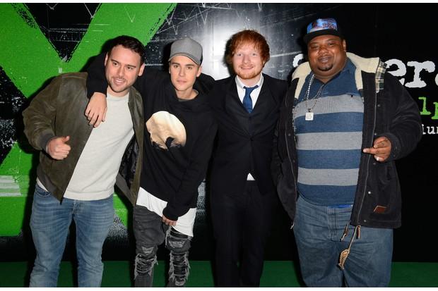 Scooter Braun, Justin Bieber, Ed Sheeran and Big Narstie (Getty)