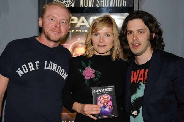 "NEW YORK - JULY 21:  (L-R) Co-creators Simon Pegg and Jessica Hynes and director Edgar Wright attend the BBC Video celebrates the DVD release of ""Spaced: The Complete Series"" at Village East Cinemas on July 21, 2008 in New York City.  (Photo by Bryan Bedder/Getty Images)"