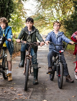 Sam Taylor Buck as Adam Young, the reluctant Antichrist; Ilan Galkoff as Brian; Alfie Taylor as Wensleydale; Amma Ris as Pepper, in Good Omens
