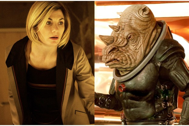 Jodie Whittaker with a Judoon in Doctor Who (BBC)