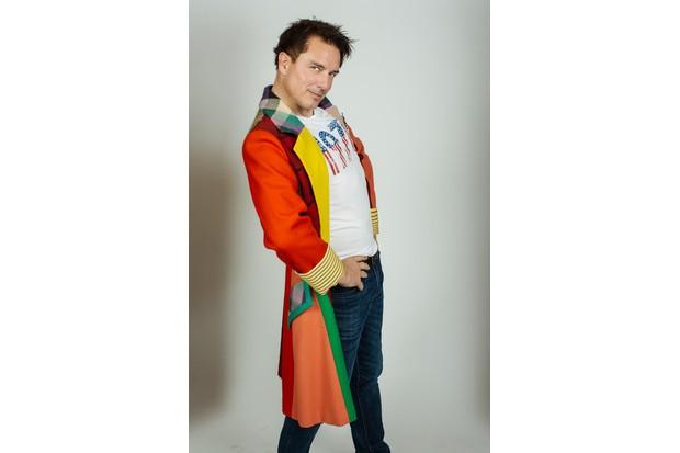 John Barrowman in the Sixth Doctor's Doctor Who costume (Big Finish)